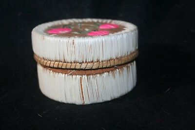 Birch bark basket decorated with porcupine quill from Sutton Bay Michigan