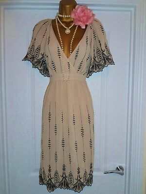 OASIS 1920s Style Gatsby Flapper Charleston Sequin Beaded Dress Size 12