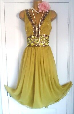 1920s Style Gatsby Flapper Charleston Beaded Sequin Dress Size 18