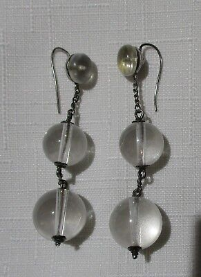 Antique or Vintage Pair of Rock Crystal Quartz and Silver Earrings