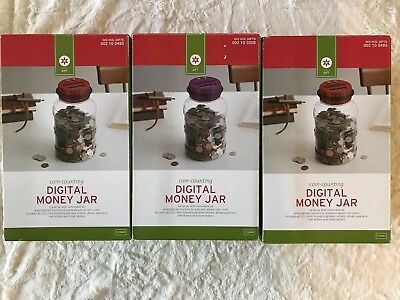 NIB Lot Of 3 Digital Money Jars, Auto Counts Coins, 1 Purple Top, 2 Red Tops