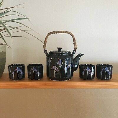 Vintage Otagiri Tea Set Blue Iris Teapot Lid And 4 Cups