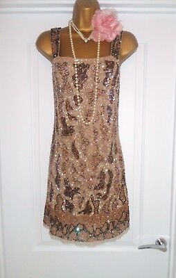 ZARA 1920s Style Gatsby Flapper Charleston Sequin Beaded Dress Size 10/12 M