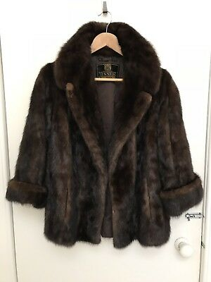 Jenners Dark Brown Ranch Mink Real Fur Jacket Size 16