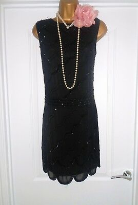 Live2Love 1920s Style Gatsby Flapper Charleston Sequin Beaded Dress Size 18 NEW