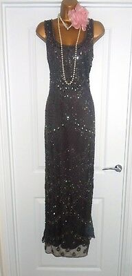 Pisarro Nights 1920s Style Gatsby Flapper Charleston Sequin Beaded Dress Size 10