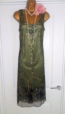 Vintage 1920s Style Gatsby Flapper Charleston Sequin Beaded Dress Size 10