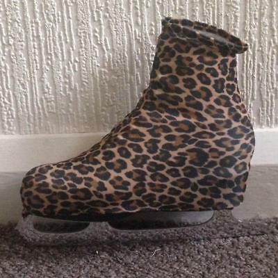 Ice Roller Skate Boot Covers Lycra patterned Leopard print