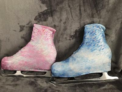 Ice Roller Skate Boot Covers Lycra patterned Blue or Pink Frost