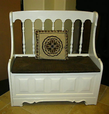 Vintage Tallback White Rush BENCH Settee w Spindles & Storage ~ French Country