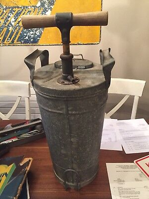 Vintage Large Galvanized Steel Pump Sprayer Wood Handle Bug Bucket