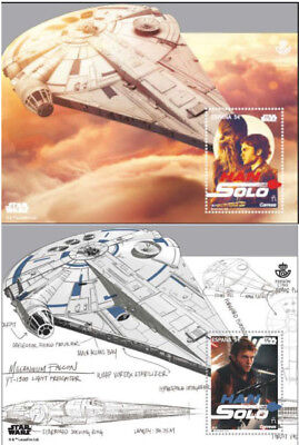 Star Wars Stamp 3D Han Solo Hologram Chewbacca Spain Millenium Falcon