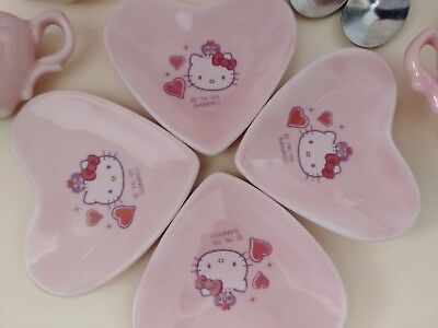 2005 Miniature Queen Hello Kitty Ceramic Pink Tea Set w/Plates & Spoons 11 Piece