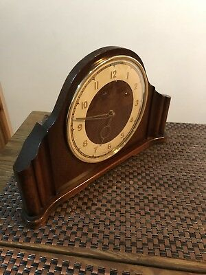 Vintage Mantle Clock . Smiths 4 Jewels 8 Day . 50s Art Deco .