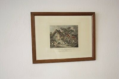 vintage England Fox Hunting the Death Painted by G. Morland engraved E.Bell 1800
