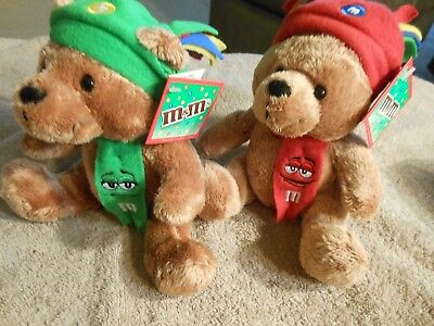 """M & M's Galerie Red & Green 6"""" Plush Bears ... w/tags"""