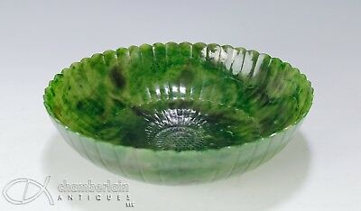 Chinese Carved Green Jade Bowl In Floral Design