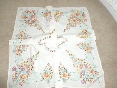 Beautiful vintage hand-stitched embroidery embroidered tablecloth floral Autumn