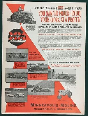1951 MINNEAPOLIS-MOLINE MODEL R TRACTOR Implements, Farming, Lg Ad, 10 x 13-1/4