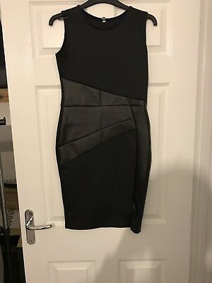 Ladies size 10 black dress with leather panel, worn once