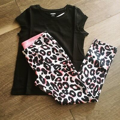 GYMBOREE Girls Kitty In Pink  Super Skinny Leopard Pants /BLack Tee Size 5-6 NWT