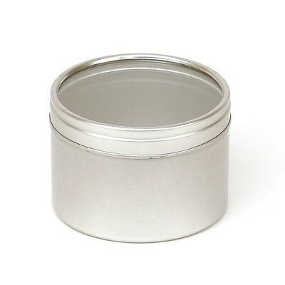 Tin With Window - Silver Round Seamless Slip Lid Tins with Windows - Candle Tin