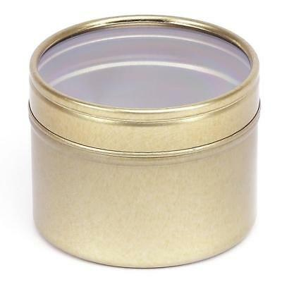 Tin With Window - Gold Round Seamless Slip Lid Tins with Window - Candle Tin