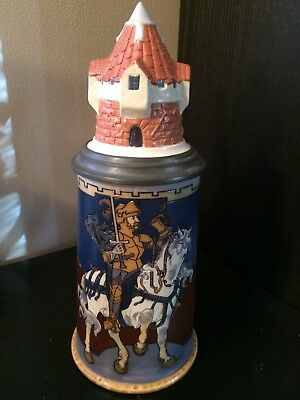1/2L Etched Mettlach Beer Stein- Knight On A White Horse - 2765