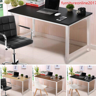 Modern Wooden & Metal Computer Desk PC Study Home Office Workstation Table