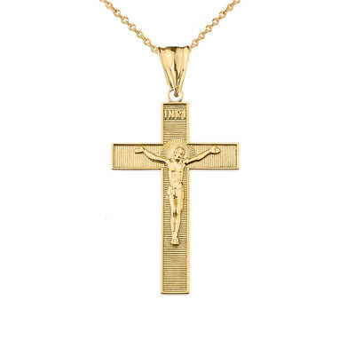 Solid 14k Yellow Gold INRI Halo Crucifix Cross Pendant Necklace