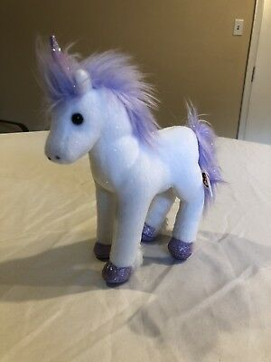 Ty Beanie Baby 2.0 Fable the Unicorn White Purple Plush Bean Bag Toy USED