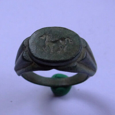 Roman Ancient Artifact Bronze Ring With Horse