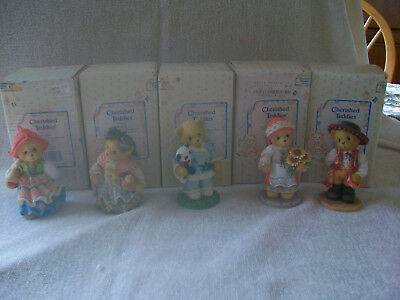 Cherished Teddies Lot Of 5 from the Across The Sea Series. In Box with papers.