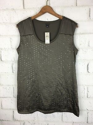 d67a2562883918 Ann Taylor New  68 Nwt Stretch Knit Brown Sequin Embellish Tank Top Size  Medium