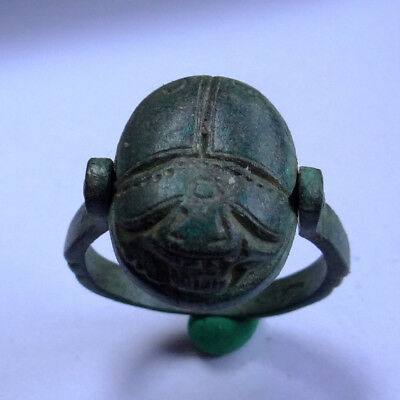 Egyptian Ancient Artifact Bronze Seal Ring With Scarab