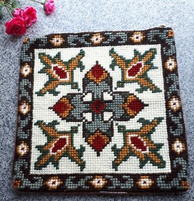 "Vintage Retro Cross Stitch Tapestry Cushion Cover 14"" Square"