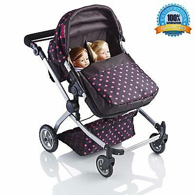 Molly Dolly Babyboo Deluxe 2in1 Twin Stroller Pram Adjustable Handle Height NEW