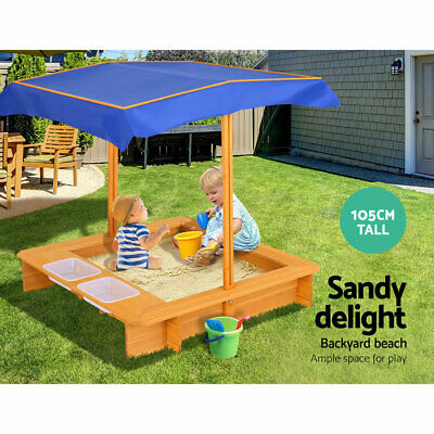 Kids Outdoor Sand Pit W/ Waterproof Canopy Shade Wooden Sandpit Beach Toy Game