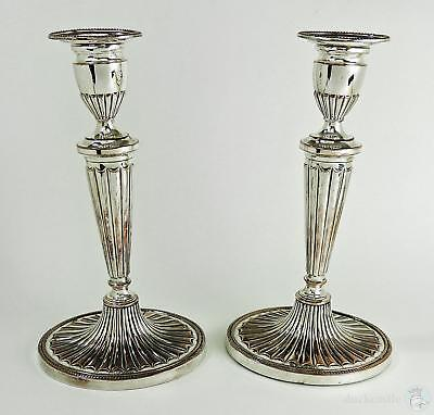Superb PAIR George III OLD SHEFFIELD PLATE Oval Fluted Beaded CANDLESTICKS c1790