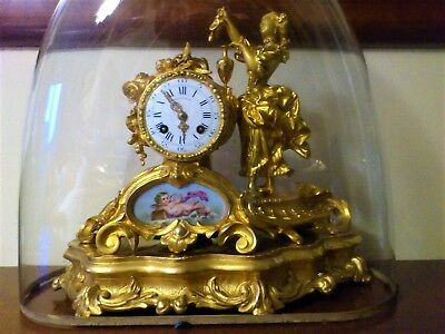Antique French Ormolu Figural Mantel Clock, Base & Glass Dome.