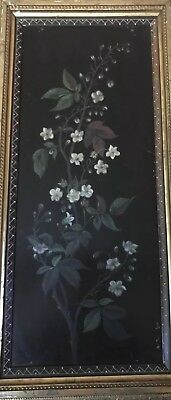 Asian Painting Early 1800 On Wood Flowers Hand Painted