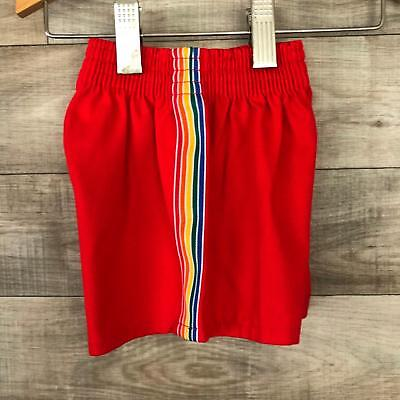 Vintage Rainbow Red Running Shorts Runner Up Boys Red Size 2T Short Made in USA
