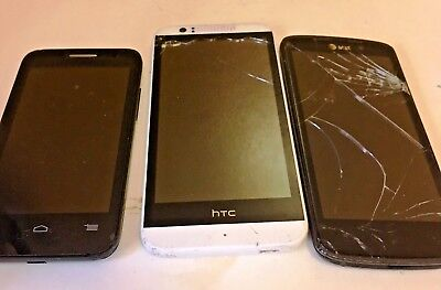 Lot of 3 Assorted Cell Phones -LG, HTC & ALCATEL for Parts or Repair Only