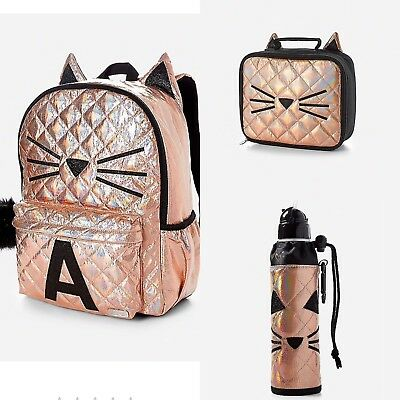 NWT JUSTICE Gold Cat Quilted Style-Letter A Backpack, Lunch Tote & Water Bottle