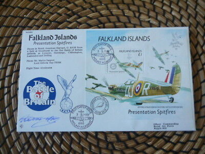 Battle of Britain  50th Anniversary 1990 The Falkland Spitfires   Signed   fdc