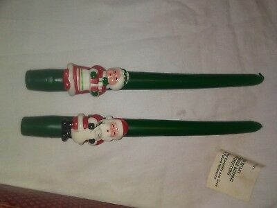 "Santa & Mrs Christmas Vintage 1981 Avon 10"" Taper Candles Green Bayberry in Box"