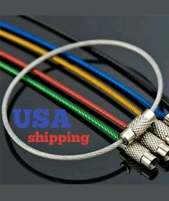 Lots 5PCS Stainless Steel Wire Keychain Cable Key Ring Chains for Outdoor Hiking