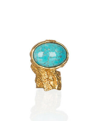 4f6cc73bc3a Saint Laurent Women's Gold Metal Turquoise Glass Cabochon Arty Oval Ring
