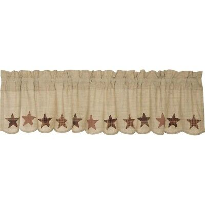 Tan Classic Country Kitchen Curtains Country Star Valance Rod Pocket Cotton
