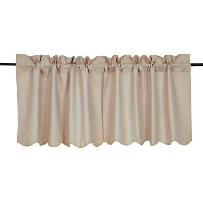 Farmhouse Kitchen Curtains VHC Charlotte Tier Pair Rod Pocket Solid Color